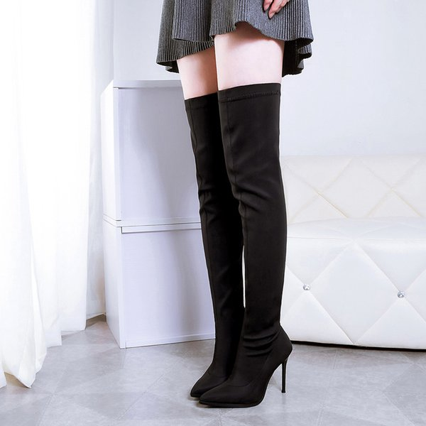 New fashion 10cm stiletto high heels black martin boots over the knee fashion knight women's stretch booties 906-5