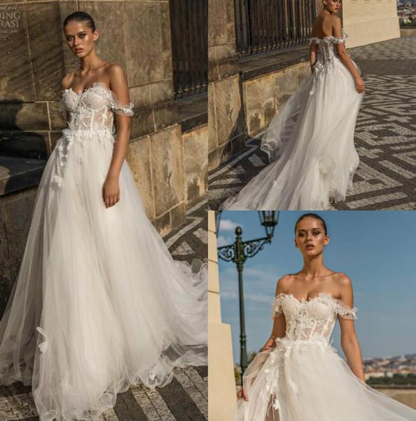Helena Kolan 2019 Vestidos de Casamento Sexy Fora Do Ombro Do Laço de Noiva Vestidos Arábia Saudita Trem da Varredura Plus Size Backless Vestido De Noiva