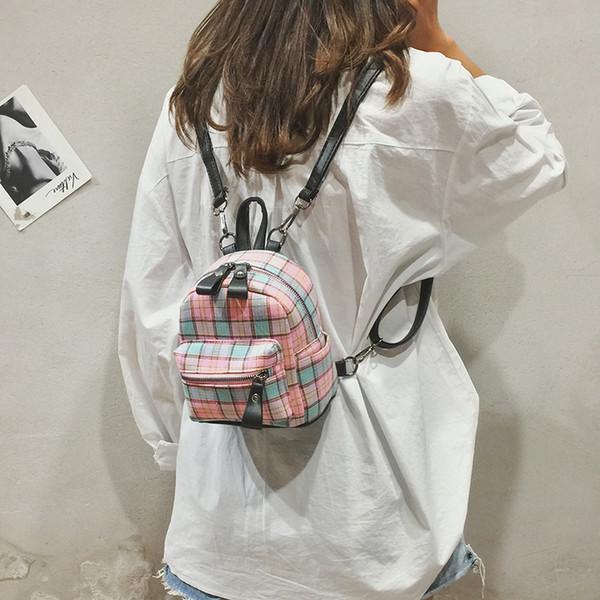 64737528f5a7 Travel Backpack Small Backpack Little Girl Mini Cute Simple Striped School  Bag Plaid Feminina College Backpacks Female