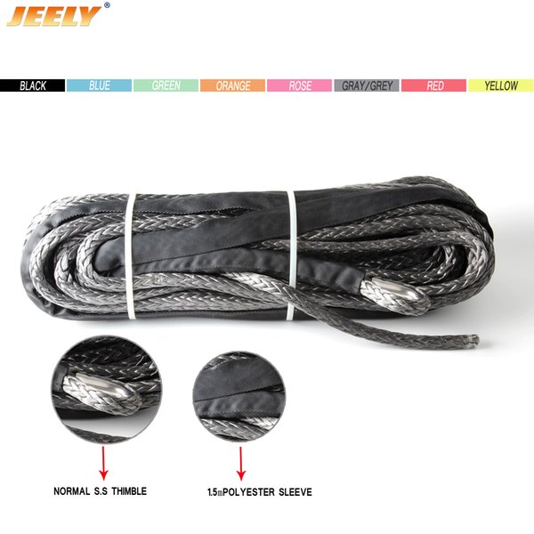 Free Shipping 8MM 30M 12 Strand 100% Pure UHMWPE Synthetic Winch Rope With Thimble For ATV/UTV/4WD/4X4/SUV/OFF-ROAD