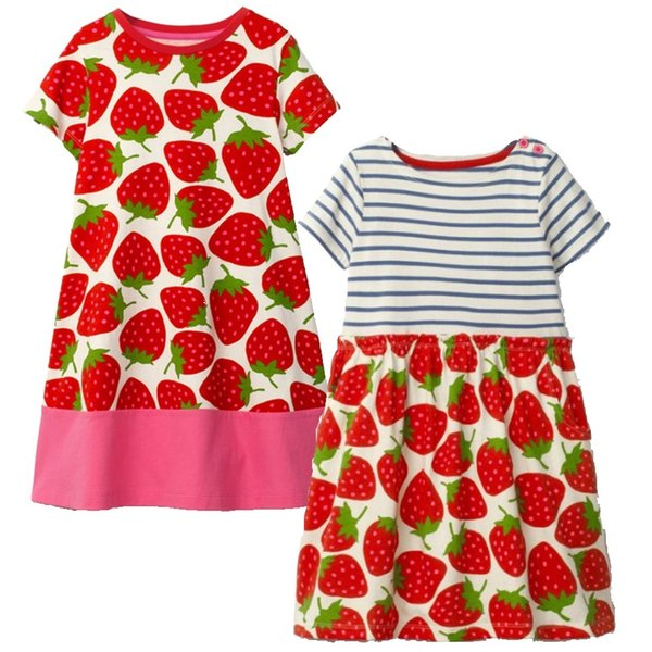 Strawberry Baby Girls Dresses Children Clothes Blouses Girl's Jumpers Outfit Short Sleeve Clothing For Girl One-Piece Dress 2-6Y