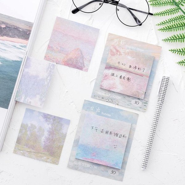 Fantastic Self-adhesive Sticky Notes Hand Painting Oil Painting Notes Index Flag Sticky Paper Stickers Memo Pad Papelaria