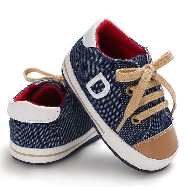 Autumn Newborn baby canvas shoes infant toddler Boy Girl Crib shoes Lace Up Loafer Prewalker sport sneakers hard bottom
