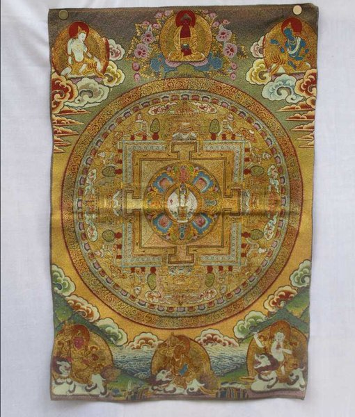 Коллекционные традиционный тибетский буддизм в Непале тханка Будды картины, Большой размер буддизм шелк парча живопись p002507