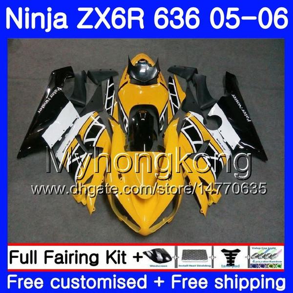 Body+Tank For KAWASAKI NINJA ZX-636 ZX-6R ZX636 Z X6R 05 06 210HM.42 ZX600 Yellow white top ZX 636 600CC 6 R 05 06 ZX 6R 2005 2006 Fairings