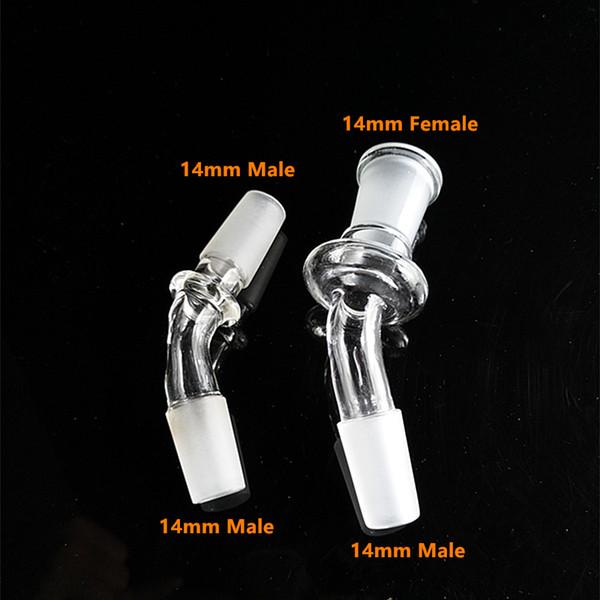 45 grad gebogene form Glas Adapter 14mm oder 18mm glas Konverter männliche gemeinsame glaskuppel adapter 14.5mm, 18.8mm kostenloser versand