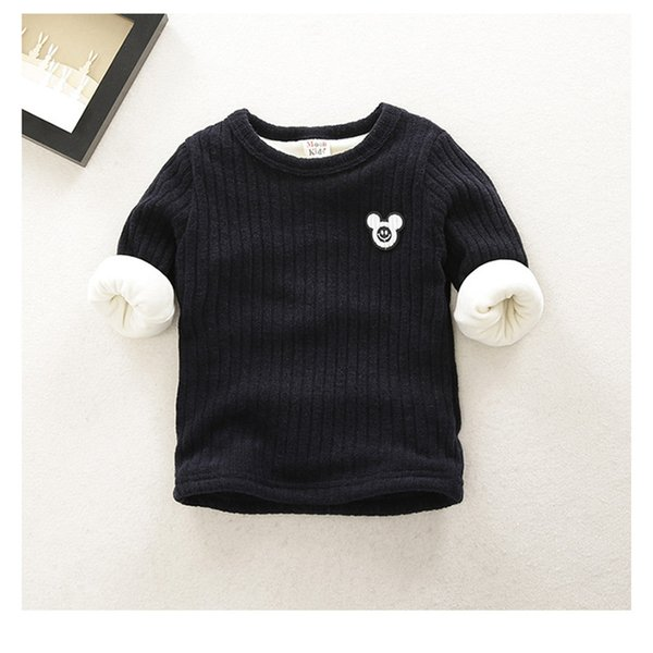 Toddler winter warm boys sweater newborn baby plus velvet thick solid sweater for boys infant warm baby clothing tops