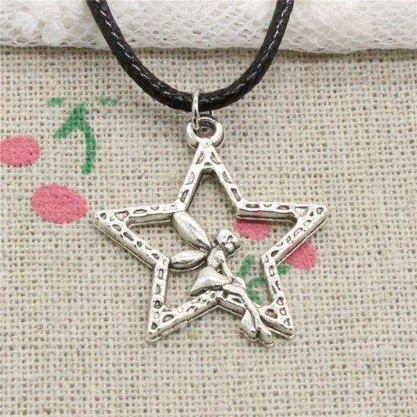 Creative Fashion Antique Silver Pendant angel star 30*24mm Necklace Choker Charm Black Leather Cord Handmade Jewlery