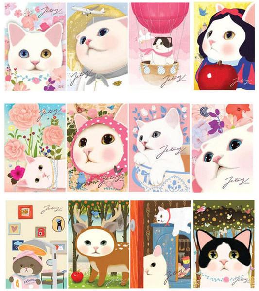 New 6pcs/set vintage Cute Cats choo Postcards group cartoon Christmas Card/Greeting Card/ Postcard Gift
