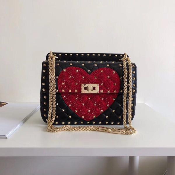 2018 neue mode handtasche umhängetasche dame tasche farbe stonediamond tasche valentines tag taschen mehrere schichten kamera rot schwarz weiß farben