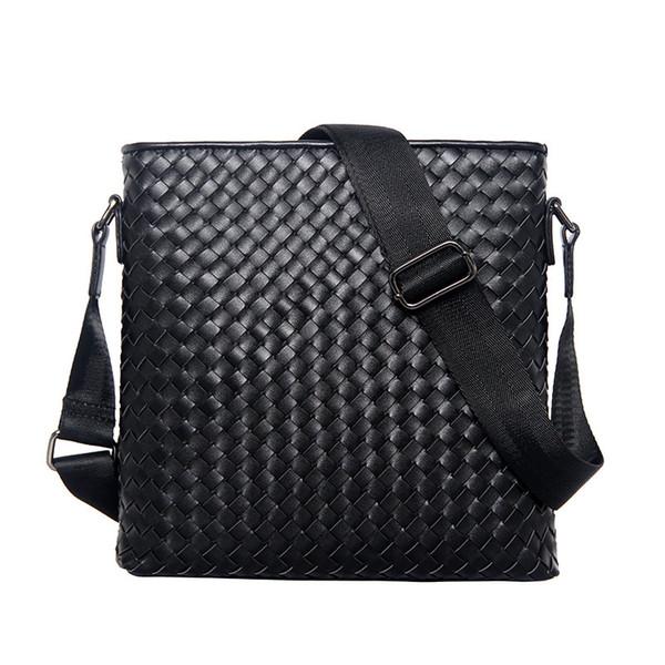 Men's Business Shoulder Bag Men 's Classic Cowhide Genuine Leather Woven Bag Vertical Section Shoulder Messenger Business Br