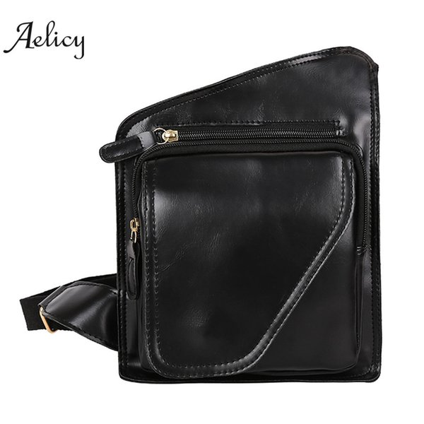 Aelicy Fashion Men Pure color Leather Crossbody Bags Messenger Shoulder Bag Chest Bag irregular Casual Business PU Leather