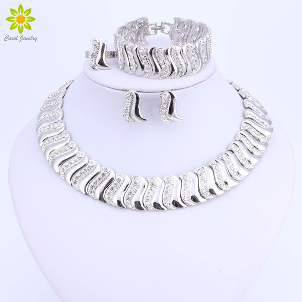 dubai sets Fashion Exquisite Dubai Set Luxury Silver Color Big Nigerian Wedding African Beads Costume Design jewelry set