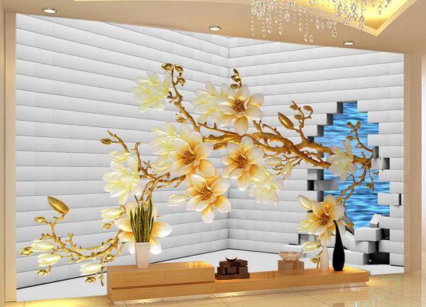 Acheter Personnalisé Photo Papier Peint 3d En Trois Dimensions Brique Mur Couleur Magnolia Fleurs Mur Fond Mur Décoratif Peinture De 39 18 Du