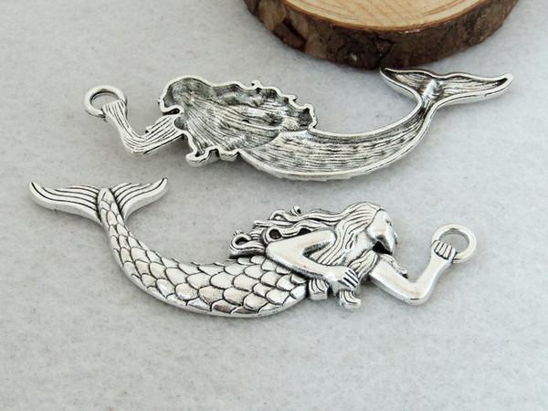 10 pcs encantos da sereia de prata Antigo, 32x75mm prata mar-empregada doméstica pingente, liga de sereia colar Conector de fixação Resultados da jóia link C8245