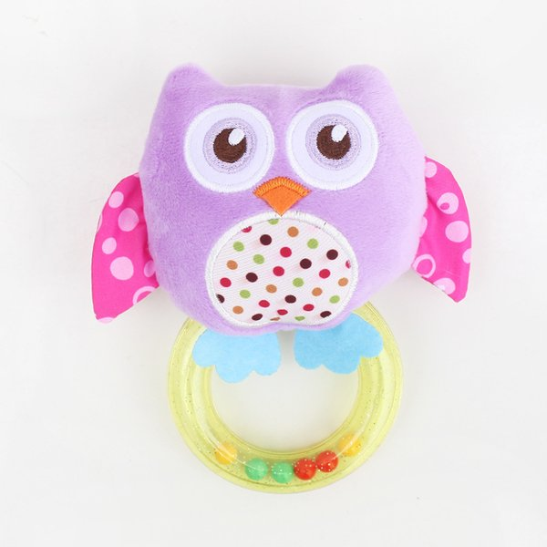 Learning 0 -3 Y Baby Rattle Hand Bell Toy 5 Style Owl Bird Chicken Animals Plush Happy Monkey Gift Wj290 Education Toys