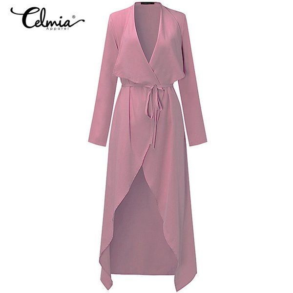 2018 Women Long Trench Coat Casual Outerwear Belt Solid Fashion Elegant Cardigan Ladies Autumn Thin Windbreaker S-3XL 6 Color
