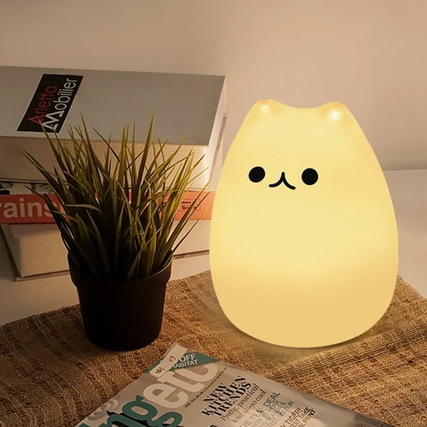 Premium Silicone Cartoon Cat Desk table lamp Bedroom Decoration lamp LED Night Light Baby Nursery Lamp Toys Gifts Touch Sensor