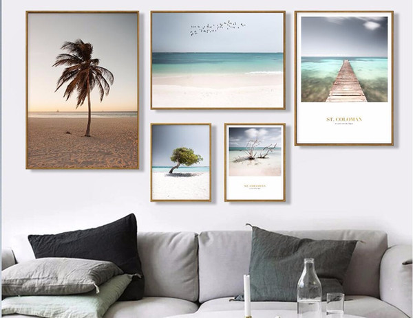 Nordic Home Decorative Painting Small fresh beach big tree landscape Canvas Painting Photo For Living Room Poster 903