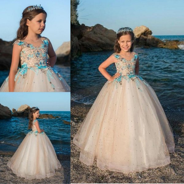 Newest Princess Sleeveless Ball Gown Girls Pageant Dress Embroidery Tulle Crystal Cap Sleeves Beauty Flower Girl Dresses