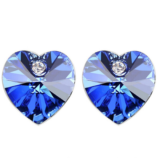 Fashion Jewelry High Quality Blue Crystal from Swarovski Elements Heart Women Stud Earrings White Gold Plated