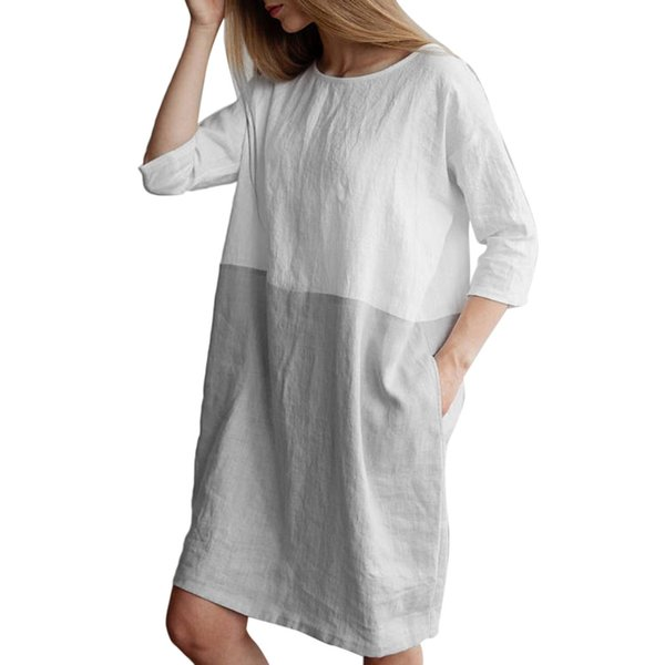 2019 Preppy Style Cotton Linen Dress Women Patchwork 3/4 Sleeve Baggy Dress  Plus Size Female Loose Tunic Long Tops Dresses Vestidos From Duanhu, ...