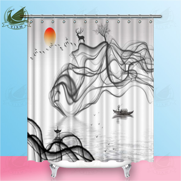Vixm Abstract Traditional Chinese Landscape Painting Ink Style Shower Curtains Polyester Fabric Curtains For Home Decor