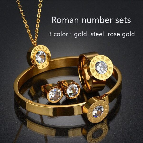 Stainless Steel Dubai 7 Color CZ Ring Bracelet Earrings Necklace Set Rose Gold Color CZ Stone Jewelry Set for Women