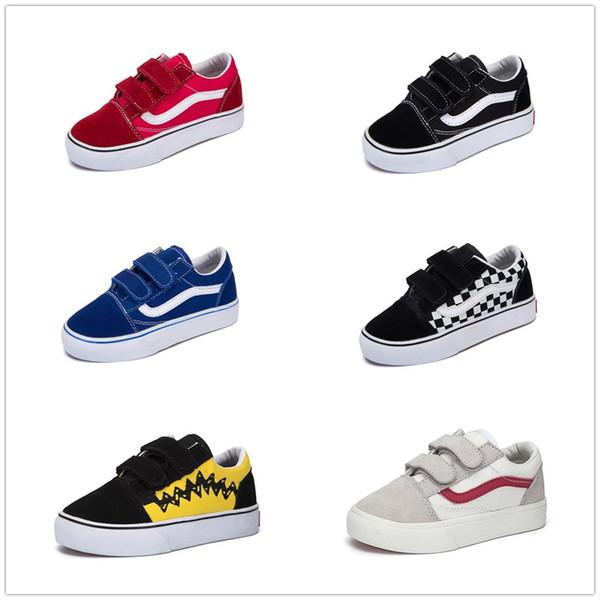 Compre Vans Old Skool Low Top CLASSICS Zapatos Infantiles Clásicos Infantil 2018 Old Skool Casual Niños Niñas Negro Blanco Rojo Bebé Niños Lona Skate