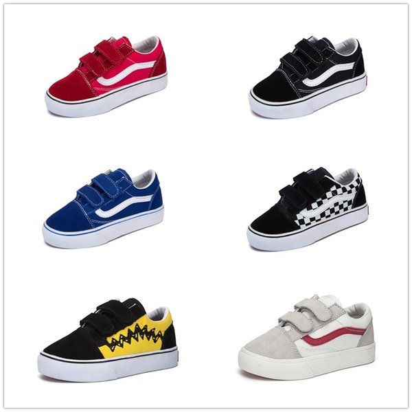 Compre Vans Old Skool Low Top CLASSICS Clássico Infantil Shoes 2018 Velho Skool Casual Meninos Meninas Preto Branco Vermelho Bebê Crianças Lona Skate