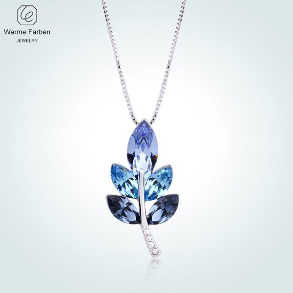 WARME FARBEN Crystal from Women Necklace Leave Shape Blue Crystal Pendant Necklace Collares Fine Jewelry Gift For Lady