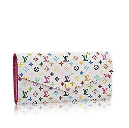 SARAH wallet M60666 Multicolore white wallet OXIDIZED LEATHER CLUTCHES EVENING LONG CHAIN WALLETS COMPACT PURSE