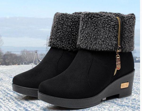 Livraison gratuite 2018 automne hiver femmes bottes en tissu épaissie Slope talon imperméable à l'eau de table Bas épais bottes courtes