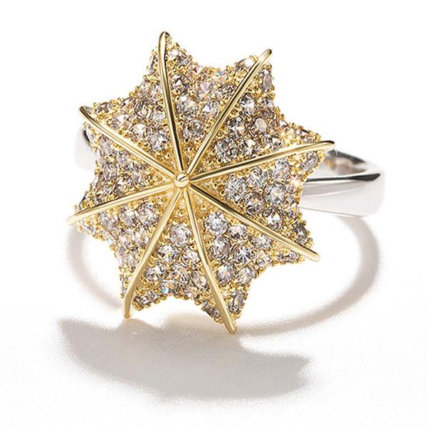 Мода европейских и американских аксессуаров с алмаз шипованных зонтик форма кольцо гальванических розовое золото кольцо размер смеси 6# до 10#