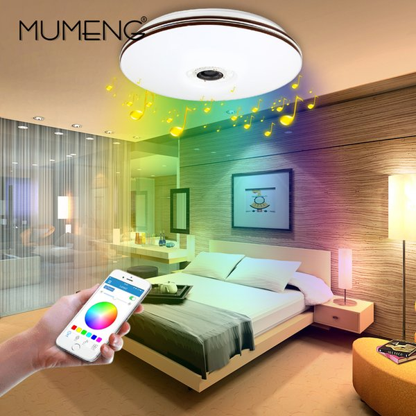 Großhandel Mumeng Led Deckenleuchte Moderne Rgb Wohnzimmer Luminaria 32  Watt Bluetooth Lautsprecher Lustre Musik Party Lampe Acryl Schlafzimmer ...