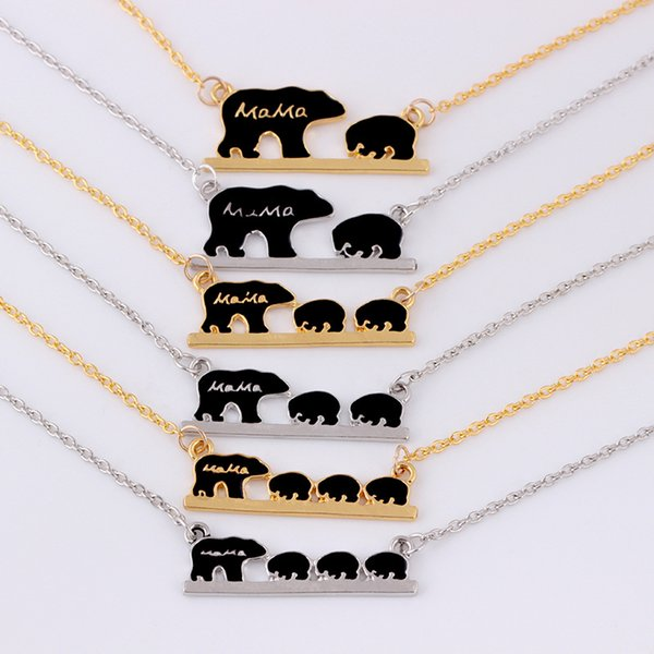 Mama Bear Tag Necklace Engraved Animal Pendant Necklace Simple Fashion Mom and Children Jewelry Gold Silver Color Mother Kids Love Necklace