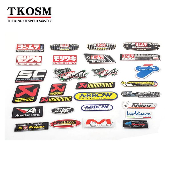 best selling TKOSM Motorcycle 3D Akrapovic Exhaust Scooter Muffler Pipe Sticker Accessories SC AR Tubo Escape Moto Protector Mivv Yoshimura