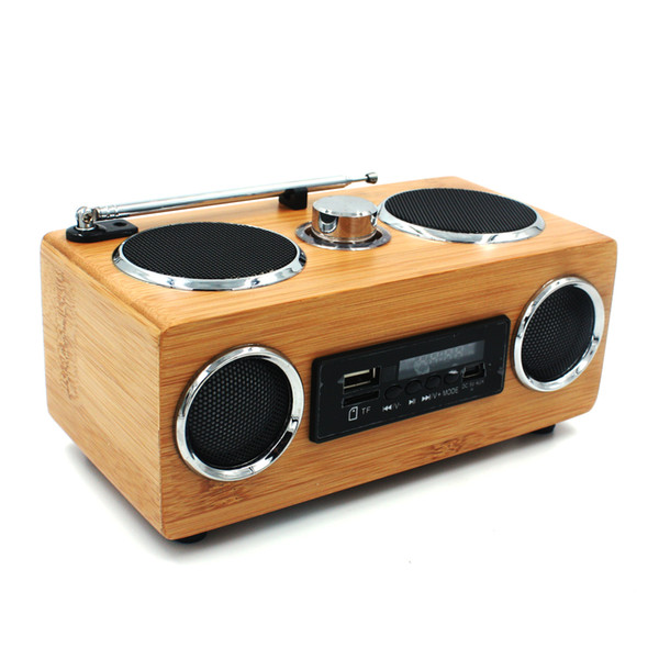 Factory Wholesale Handmade Bamboo Radio Speaker Hot Portable Hi-Fi Wood Speaker wooden TF/USB Card Subwoofer FM Radio with Remote MP3 player