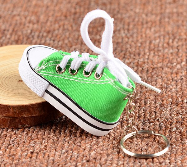 Cute Canvas Shoes Key Chain Casual Shoes Exquisite Car Keychain With Pendant 8 Color Chain Color Shoes Pendant Wholesale DHL Free Shipping