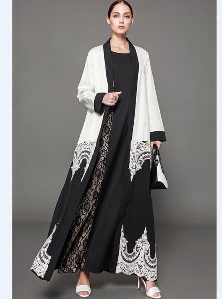 best selling New Style Women Muslim Dresses PatchWork Design Lace Floral Coat Cardigan Leisure Long Maxi Dresses Dubai Muslim Prom Dresses