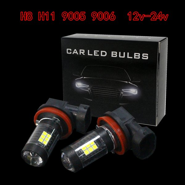 2pcs H8 H11 21W 6500K White Light LED Car Fog Light Driving Projector DRL Bulbs CLT_10E