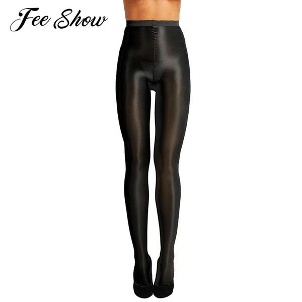 Donne Control Top Ultra Sheer Shimmery Stretch 70D Spessore calze di seta a fondo pieno Olio lucido a vita alta Calze collant