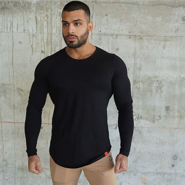 2018 Men Summer Fashion Casual t Shirt Crossfit Fitness Bodybuilding Muscle male Long sleeves Slim fit Shirts Cotton Tee tops