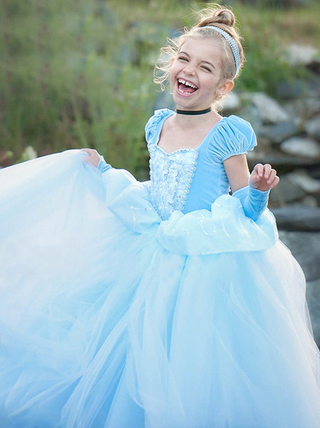 Halloween Costume Enfants Princesse Robe De Bal Robes Filles Party Cosplay Robes Grenadine Adolescent Bleu Pourpre Robes Mignonnes Costume