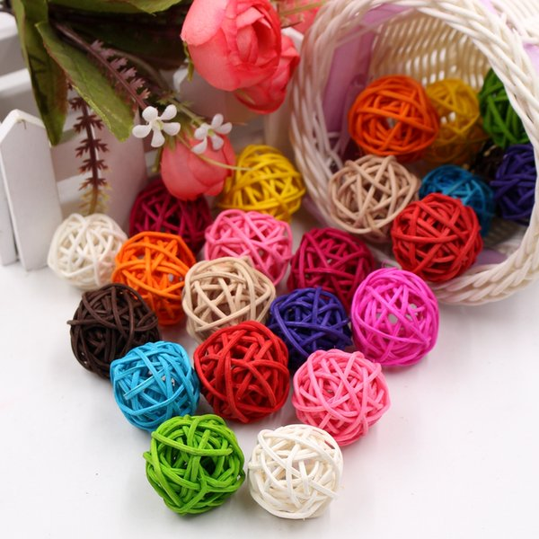 10Pcs/lot 5cm Artificial Straw Ball For Birthday Party Wedding Decoration Rattan ball Christmas Decor Home Ornament Supplies