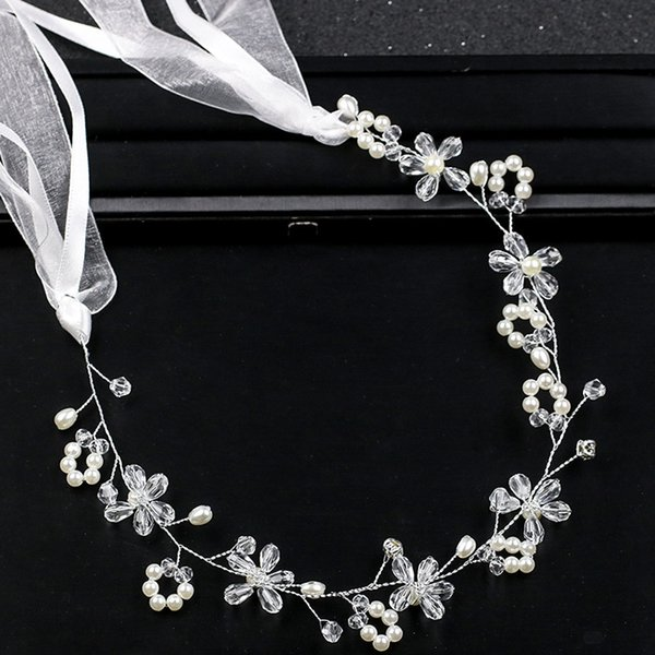 White pearl crystal handmade headwear hot dress accessories bridal headband bridal accessories manufacturers