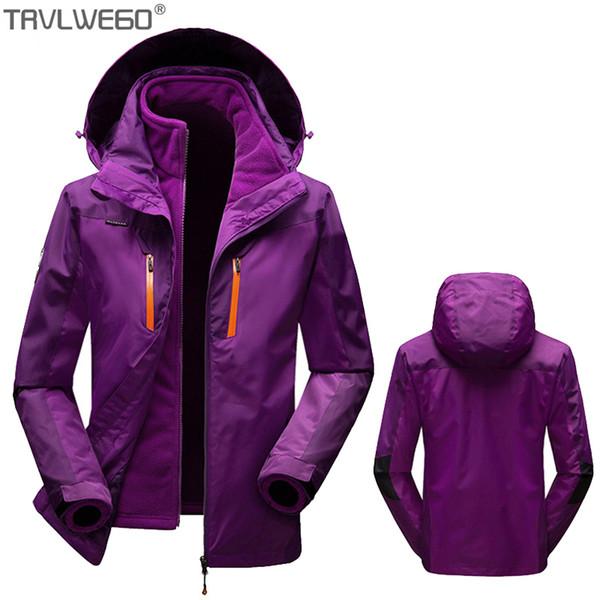 TRVLWEGO Erkekler Kadınlar Kış Su Geçirmez Ceket 3 in 1 Ceket Yürüyüş Kayak Trekking Tırmanmaya Kamp Balıkçılık Açık Nefes Dış Giyim