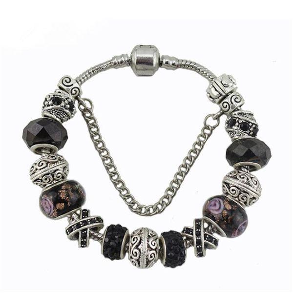 17 18 19 20 21cm pandora bracelet fashion silver charm bracelet for women black crystal beads diy snap jewelry drop shipping