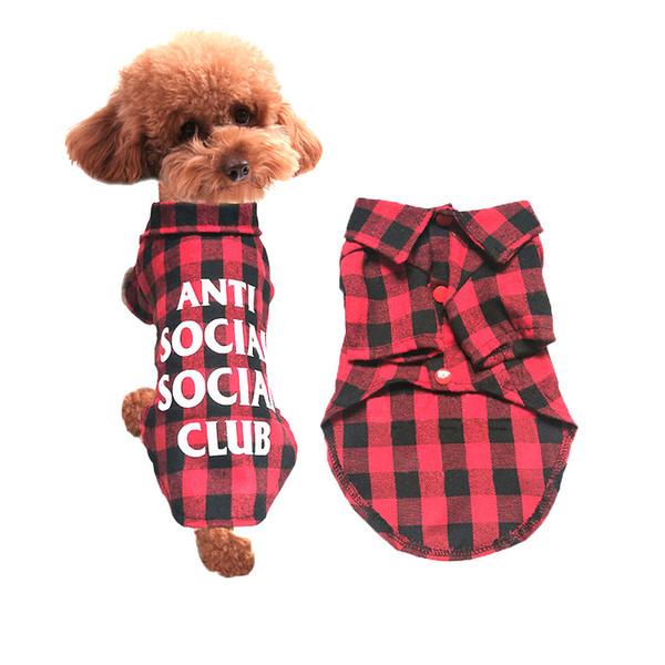 2018 Cute Pet dog Plaid Shirts Pet Fashion Clothes Button Puppy Coat Dog Apparel Pet Supplies for Spring Summer Autumn