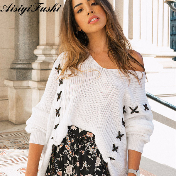 Women's Sweaters White Knitted Lace Up Sweater Coarse Knitted Loose Jersey Off Shoulder Winter Woman Sweater Knitting Pullovers